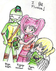 Three characters stand side-by-side and enjoy plushies of the Ninja Mutant Turtles. Rain, a small winged girl with blonde hair in a ponytail, hugs a Donatello plush toy and looks up at the other characters. Ichigo, a girl with pink hair in two ponytails, plays with a Michelangelo toy. Alex, a Teenage Mutant Ninja Turtle with a white bandanna, smiles whilst a Raphael plushie lies down on top of his head. Art by kitaneeko.