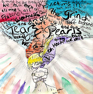 A watercolour illustration of Rain, a girl with blonde hair in a ponytail, who grips herself and spreads her wings. Lyrics from Tears of Pearls by Savage Garden decorate the multicoloured background. Art by kitaneeko.