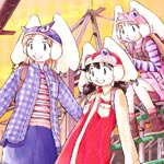 The three girls in casual clothing and their borgs enjoy the view from the top of a playground jungle gym.